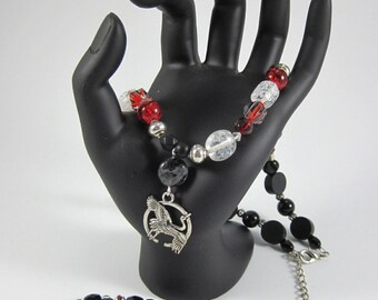The Crane Wife; Adjustable Necklace/Bracelet Set with Dramatic Contrasts of Black, Red & White Glass, Wood, Silver Beads and Natural Stone