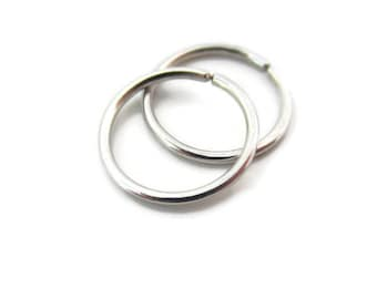 Platinum Small Hoop Earrings Cartilage Earrings Small Snug Fit Size 8mm, One Pair