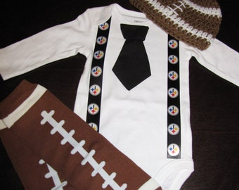 PITTSBURGH STEELERS inspired football outfit for baby boy - tie bodysuit with suspenders, crochet hat, leg warmers