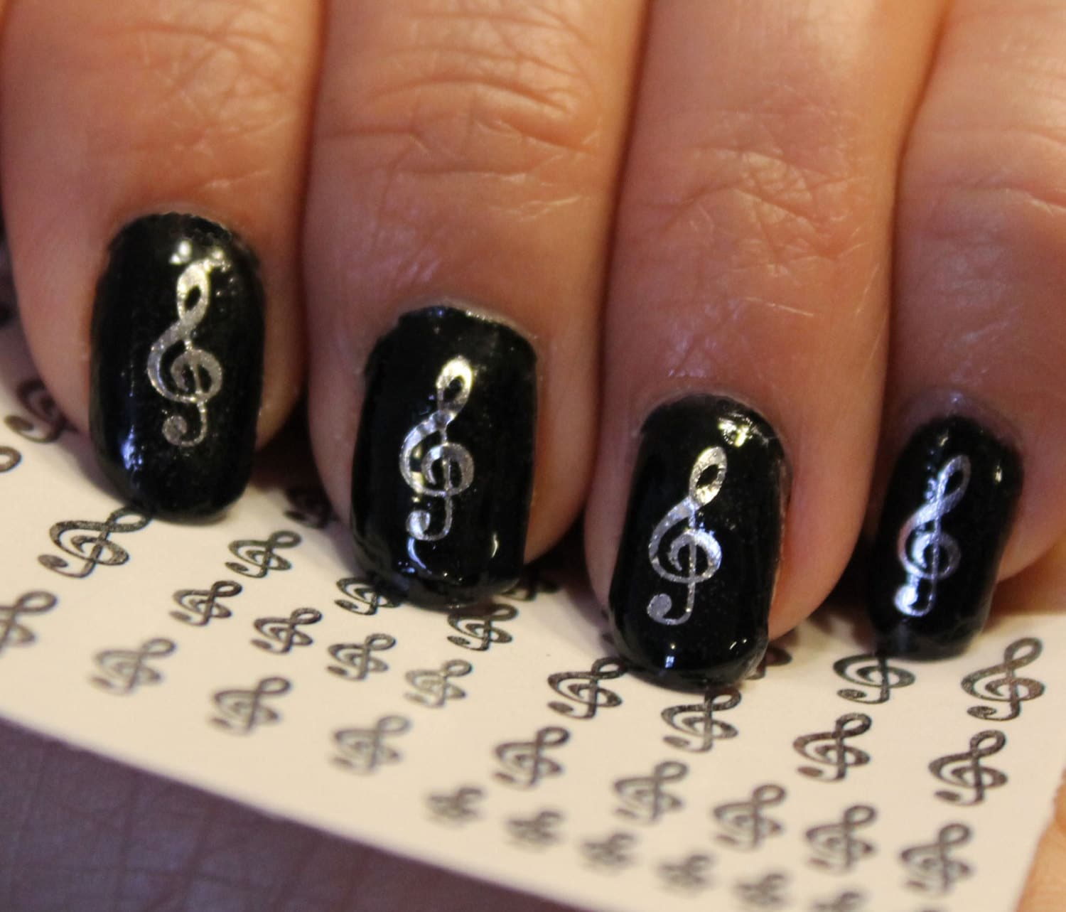 🔎zoom - ON SALE 42 Silver TREBLE Clef Music Note Nail Art Gcs G Clef