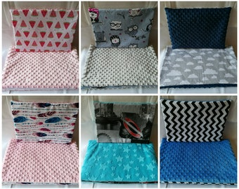 Reversible Baby Blanket Minky and Cotton 50x70cm filling 2cm and flat pillow 30x40cm