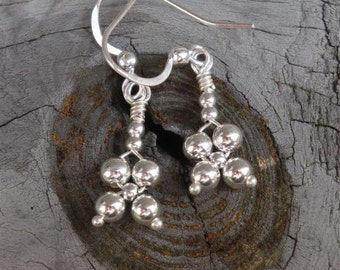 SILVER BELLS COLLECTION - myBouquet Beaded  Floral Design - Simple Sterling Silver Earrings - Handmade by Dorana