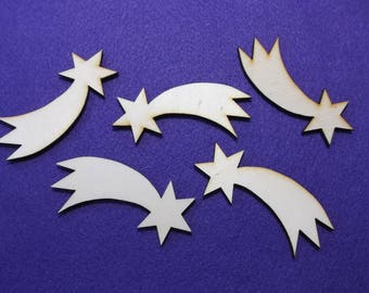 5 shooting stars, wood, 8 x 3 cm (24-0040B)