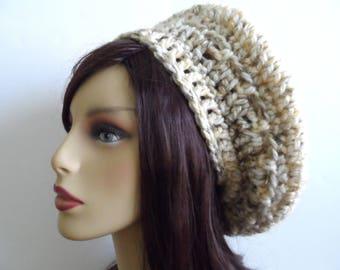 Chunky crochet tam, beret, slouch hat, beige speckled handmade slouchy beanie, womens, teens