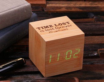 Engraved Personalized Digital Wood Alarm Clock Customized Graduate Gift Monogrammed (024347)
