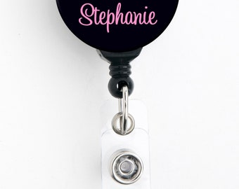 Retractable ID Badge Holder - Personalized Name - Pink Floral Black Bkgd - Badge Reel / Nurse Badge / Teacher Badge / Stocking Stuffer