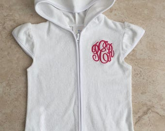 Girls White Bathing Suit Cover Up, Girls Pool Robe, Swim Robe Personalized, Toddler Pool Robe, Robe Personalized, Robe Monogramed