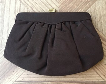 Vintage Brown Silk Interior Evening Clutch with Gold Clasp