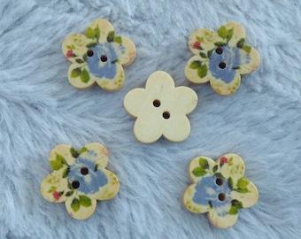 WOODEN FLOWER BUTTON PRINT PINK BLUE