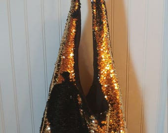 2 sided reversible sequin purse black and gold