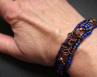 Cobalt blue and copper beaded chain maille bracelet