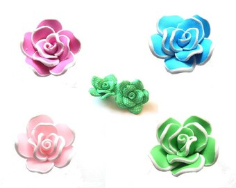 Pink Pearl flower shaped polymer clay two-tone 28x16mm / / choose colors