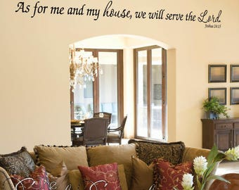As for me and my house, we will serve the Lord | Long version - Bible Verse Scripture Religious Christian Wall Art Decal For Home or Church