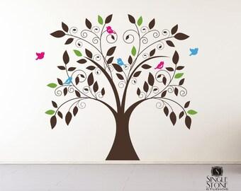 Nursery Tree Wall Decal Whimsical - Nursery Vinyl Wall Stickers Art Custom Home Decor