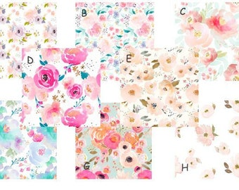High Quality Floral Indy Bloom Water Colors  Custom Baby Girl Bedding Pink Purple  Pastel Crib