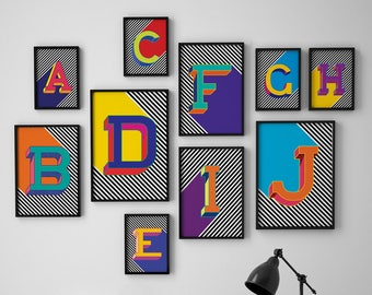 Personalised Alphabet Print, Initial Letters Typography Print, Modern Wall Art, Alphabet Poster
