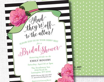 Big Hat Bridal Shower Invitation, Printable,  They're Off To The Altar, Brunch, Wedding Shower, Luncheon, Kentucky Derby, Horse Race, Pink