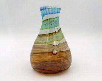 Colorful Glass Vase, Fall Vase, Autumn Vase, Glass Vase Centerpiece, Hand Blown Glass Vase, Flower Vase, Wedding Gift, Blue Glass Vase