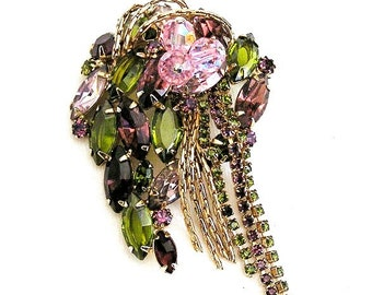 Purple with Olive Green and Pink Glass Bead Brooch