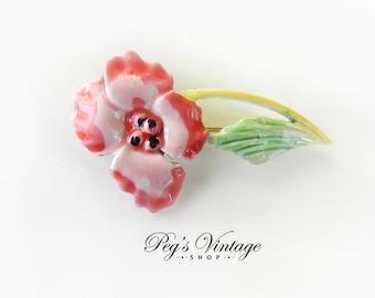 Pink Enamel Metal Flower Brooch / Pin Vintage Costume Jewelry