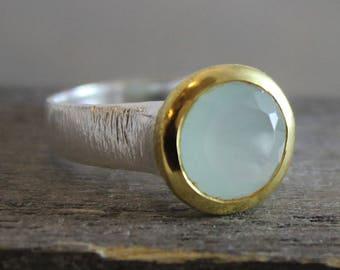 Aqua Chalcedony Gold Plated 925 Silver Ring - Aqua Chalcedony Ring- Gemstone Ring - Aqua Chalcedony Jewelry - Handmade Ring - statement ring
