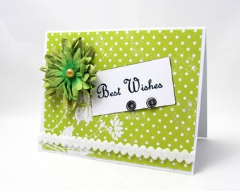 Best Wishes - Wedding Card - Engagement Card - Bright Green and White - Green Flower - Polka Dots - Shabby Chic Style