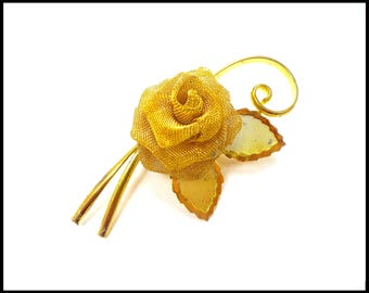 Large Gold 3D Rose Brooch, Gold Mesh Flower, Large Gold Flower, 3D Gold Rose, Runway Size Brooch, Bridal Bouquet, Graduation Gift For Her