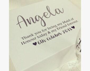 Bridesmaid gift box, personalised white box, thank you gift, memory box, wedding gift box, maid of honor box, bride box