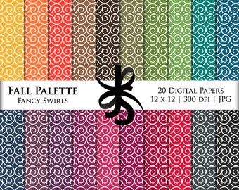 Digital Scrapbook Papers-Fall Palette Fancy Swirls-Autumn-Thanksgiving-Clipart-Backgrounds-Wallpaper-Printable-Instant Download Clip Art