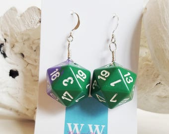 READY TO SHIP D20 Twenty Sided Dice Earrings - Purple and Green with White Numbers - Geeky Gamer Jewelry