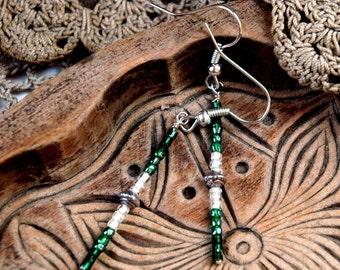 Forest Green Ombre Bead Earrings, Bar Drop Earrings, Boho Style, Seed Beads, Delicate Earrings, Silver Accents, Simple Casual Earrings