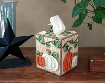 PATTERN: Fall harvest plastic canvas tissue box cover