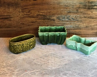 Green Pottery Planters