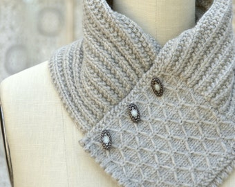 Quilted Lattice Ascot PDF Knitting Pattern Instant Download (ENGLISH ONLY)