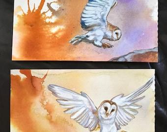 Snow Owls in Flight