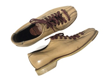 Vintage Bowling Shoes Hyde Bowling Shoes Leather Lace Up Shoes Size 4.5 Size 4 Size 5 Tan Shoe Tan Leather Union Made Shoe