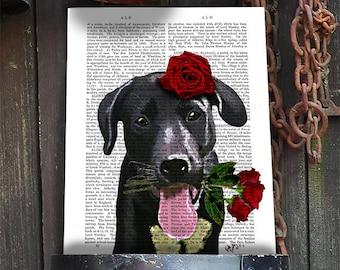 Black Labrador print - valentines dog poster - valentines gift for dog lover black lab print cute valentines gift black labrador retriever