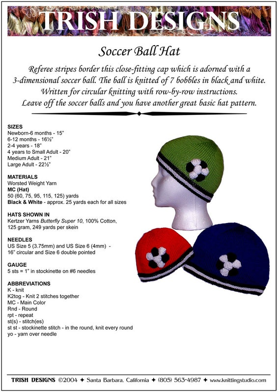 Hand Knit Pattern Soccer Ball Hat Knitting Pattern Pdf Baby To Large Adult Easy To Knit Original Trish Designs Instant Download