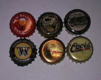Classic Brewery Logos Beer Bottle Cap Magnet Set of 6