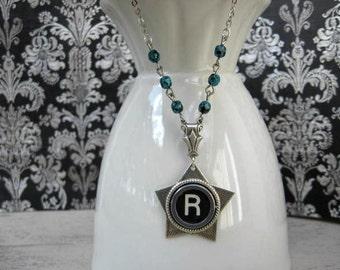 Initial Necklace - Typewriter Key Jewelry - Antique Typewriter Key Necklace - Letter R - Star Turquoise by IvieRidge