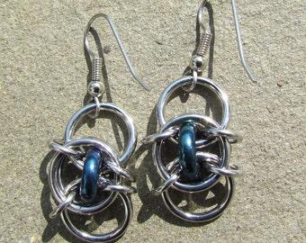 Handmade Chain Maille Earrings, Glass Jewelry, Iris Blue Earrings, Blue Glass Earrings