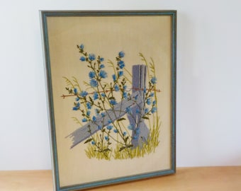Vintage Crewel Work • Large Framed Vintage Crewel Embroidery Work • Fence Post Barbwire and Chicory