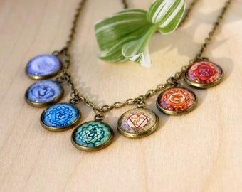 Seven Energy Levels Chakra Necklace | Hindu Jewelry | Antique Bronze Necklace | Yoga | Chakra Jewelry | Spiritual Icon | Rainbow Jewelry