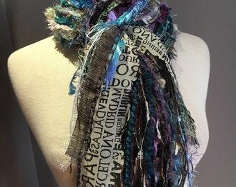 Fringe art scarf, Wonderland Traveler, cream, blue black purple, city print, Handmade Boho Scarf, travel gift, city scarf, ribbon scarf