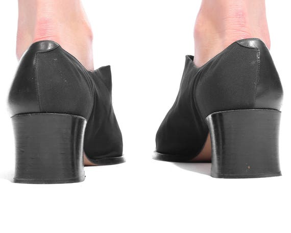 10 Slip 41 Fit 5 Chunky US Heel 7 Black Vintage Shoes Size Eur 90s Leather size 10 Textile On Block Women's Shoes Wide Loafers and UK dRqFawO