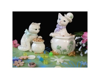 IRISH CAT Figurines With a Pot 'O Gold * LENOX * Lot Of Two Figurines