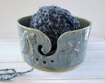 Blue Pottery Yarn Bowl // Seashell Yarn Bowl // Blue Handmade Knitting Bowl // Light BlueYarn Holder // Gift for knitter //