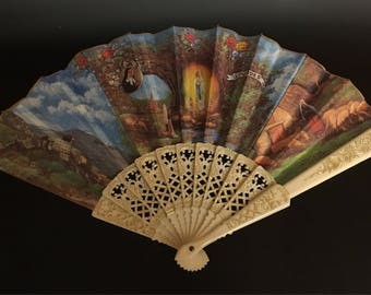 Vintage Decorated Hand Fan Blue & Gold
