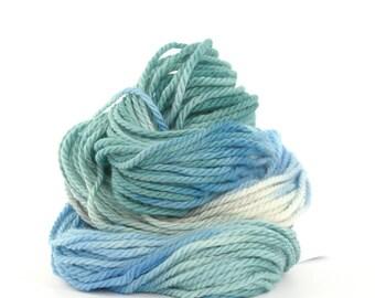 Bulky superwash merino wool, handdyed chunky knitting crochet Perran Yarn, Chill pale blue white teal mint green, uk seller, yarn skein hank