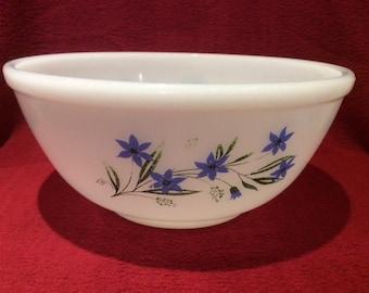Phoenix Opalware Blue Flowers Mixing Bowl 4 pint circa 1970